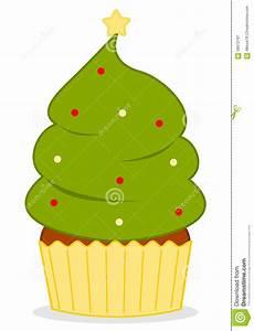 Cute Cartoon Christmas Tree Cupcake Illustration Stock ...