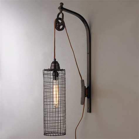 wire cylinder wall l with pulley shades of light