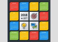 Colored creative 2018 calendar vector free download