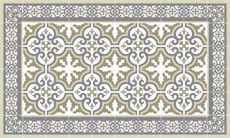tapis vinyle carreaux de ciment beige