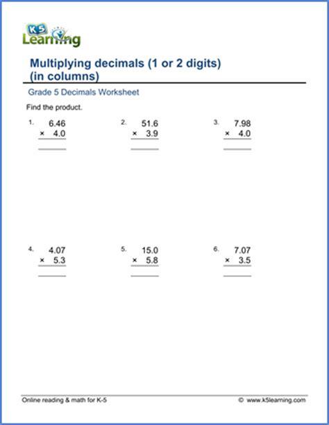 grade 5 math worksheets multiplying decimals in columns k5 learning