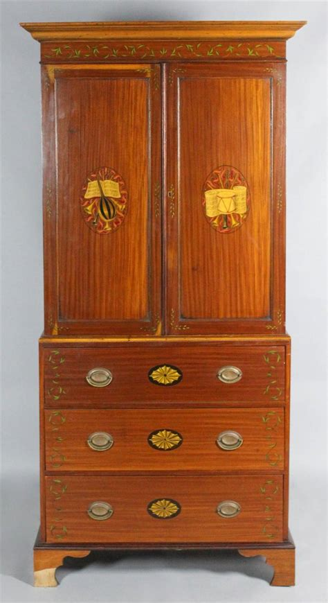 edwardian paint decorated mahogany cabinet on stand