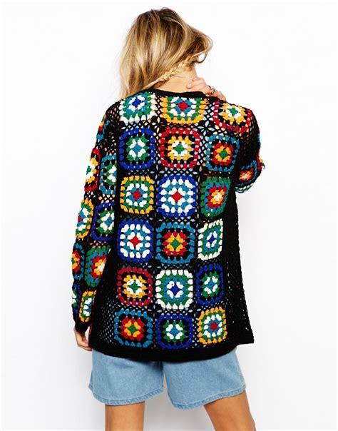 asos premium patchwork crochet cardigan lyst
