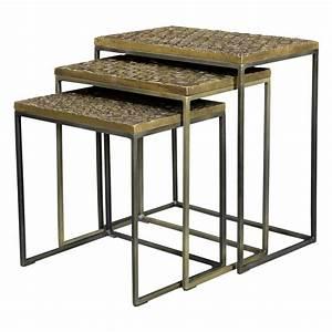 Table Basse Dorée : tables basses gigognes carr es akshaya lot de 3 commandez nos tables basses gigognes carr es ~ Teatrodelosmanantiales.com Idées de Décoration