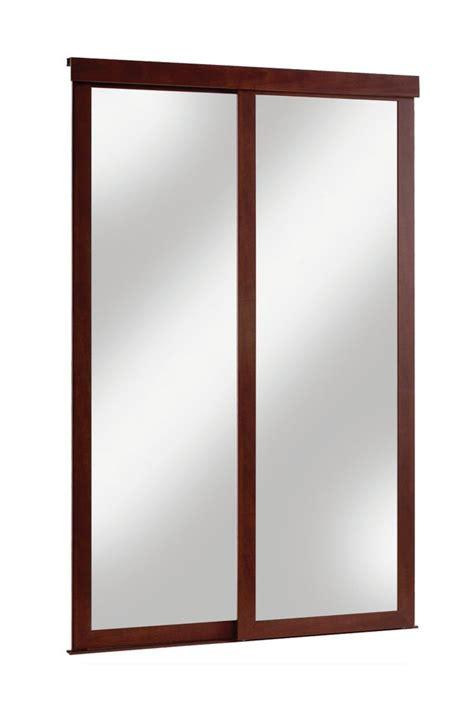 veranda 48 inch espresso framed mirrored sliding door