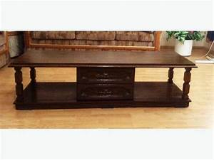 Solid wood long coffee table hexagon end table with for Long coffee table with storage