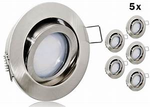 Led Spot Flach : 5 led einbauset flat spot lc light alu gu rund geb rstet ~ Watch28wear.com Haus und Dekorationen