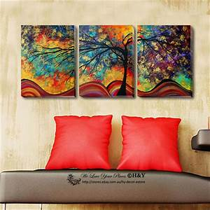 Set Of 3 Abstract Tree Stretched Canvas Prints Framed Wall ...