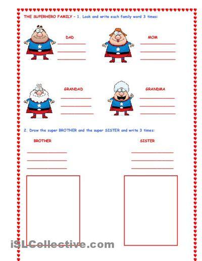 super hero family  images family worksheet