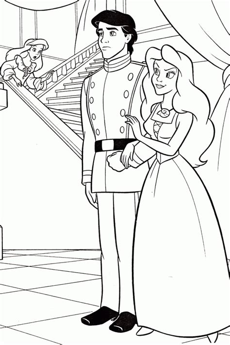 ariel  prince eric coloring pages    print