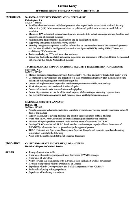 Security Resume by National Security Resume Sles Velvet