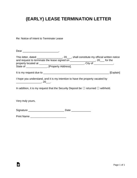 early lease termination letter landlord tenant eforms