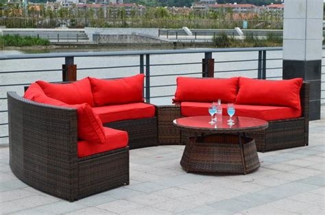 sunbrella curved wicker rattan patio furniture set w