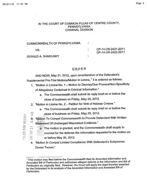 Motion In Limine Template by Order Regarding Defendant S Supplemental Pretrial Motions