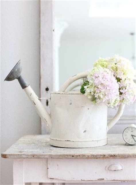 shabby chic watering can white flower farmhouse be country pinterest watering cans hydrangeas and shabby
