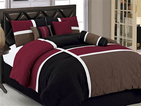 burgundy and black comforter set 7pcs burgundy brown black quilted patchwork bed in a bag