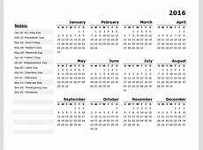 2016 Yearly Calendar Template 11 Free Printable Templates