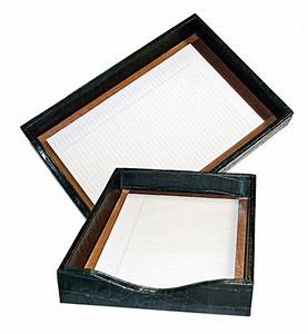 reptile leather document tray croco document tray with lid With leather document tray