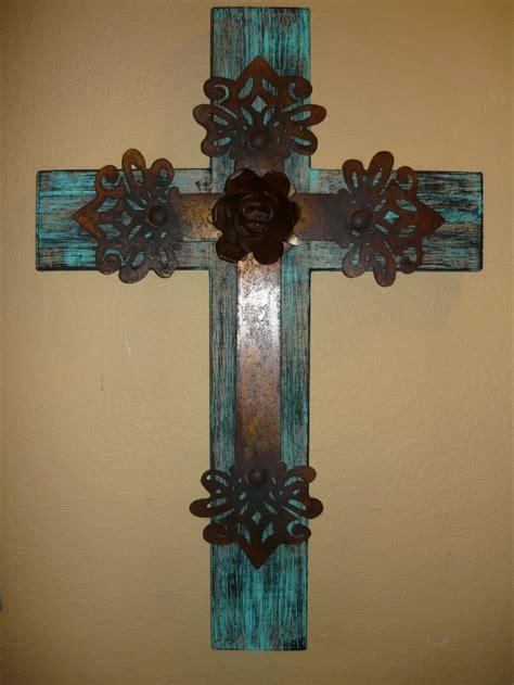 wood iron cross  plasma cut center cross  rusty