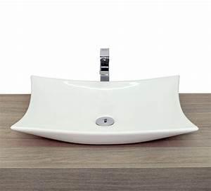 Lavandino da appoggio a goccia ovale squadrato in ceramica bianca lucido