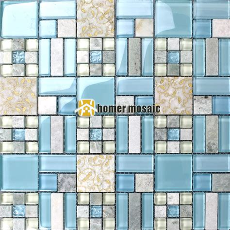 blue luminated glass mosaic mixed stone tiles  bathroom