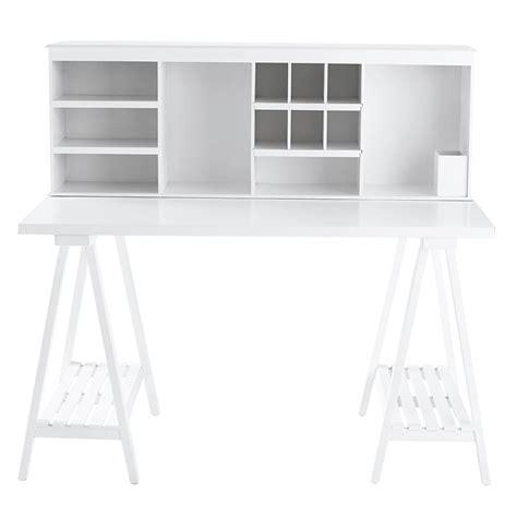 bureau simple blanc bureau en bois blanc l 130 cm cus maisons du monde