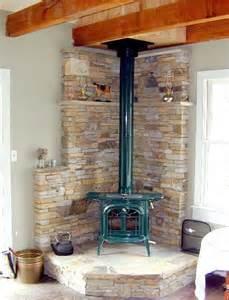Wood Stove Stone Corner Fireplace