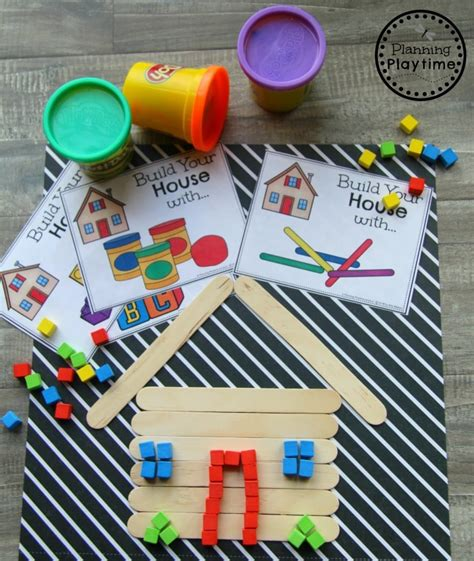 back to school themes planning playtime 954 | Preschool Back to School Theme Build a House STEM project