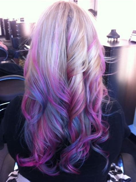 Smokey Purple Blue Blonde Ombre Hair Hairstyles Pinterest