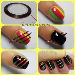 Cool easy nail designs with tape art tutorial