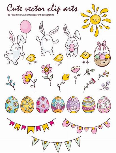 Easter Doodles Clip Seamless Vector Arts Patterns