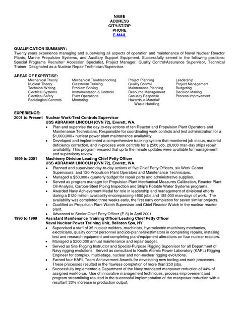 Navy Resume Exles by Write My Paper Navy Nuke Resume Assignmentshelper Web