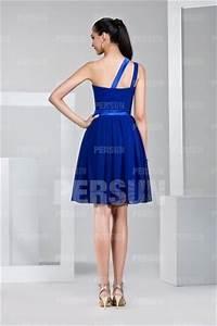 Robe Bleu Demoiselle D Honneur : robe demoiselle d honneur bleu asym trique en mousseline au genou ~ Dallasstarsshop.com Idées de Décoration