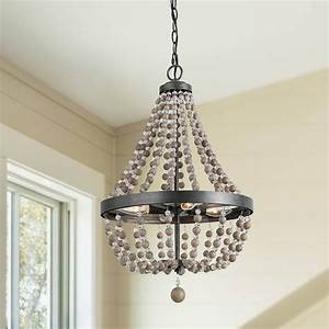 Farmhouse, 4-light, Bead, Chandelier, Lighting, Real, Wood, Beads, -, Contemporary, -, Chandeliers