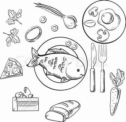 Dinner Sketch Plate Vector Drawing Cake Fish