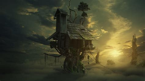 house   tree fantasy art hd wallpaper wallpaper