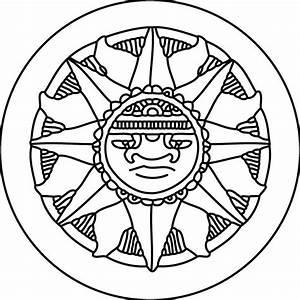 Aztec Calendar Easy Drawing Sketch Coloring Page