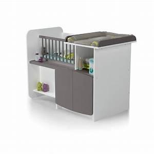 Lit Enfant Combiné : at4 lit b b combin evolutif 1 2 3 blanc taupe blanc ~ Farleysfitness.com Idées de Décoration