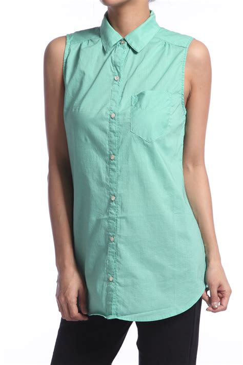 sleeveless button blouse themogan sleeveless collared button up pocket cotton