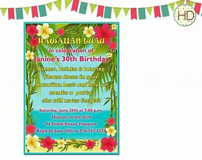 Invitation Hawaiian Birthday Luau Party Beach Template