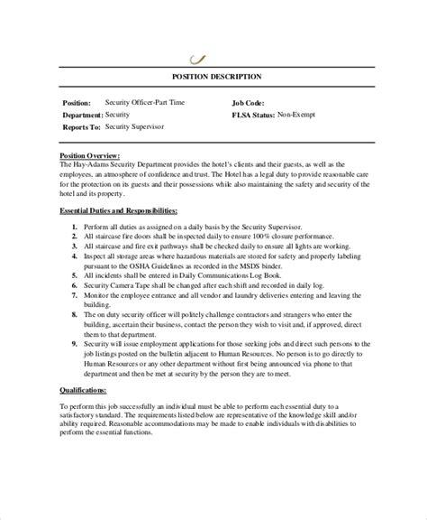 hotel security supervisor duties and responsibilities 7 security guard job descriptions free sample example 24811