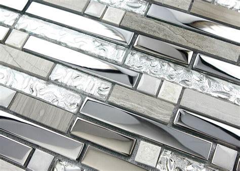 Stainless Steel And Glass Tile Backsplash : Silver Stainless Steel And Glass Tile Textured Marble