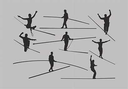 Tightrope Vector Silhouette Walker Circus Illustration Rope