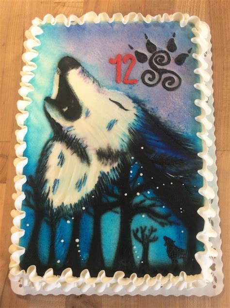 sheet cake  painted wolf trefzgers bakery