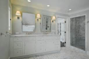 Gray and White Marble Tile Bathroom