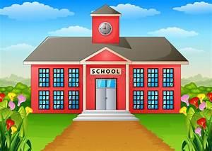 Cartoon School Building With Green Yard Stock Vector
