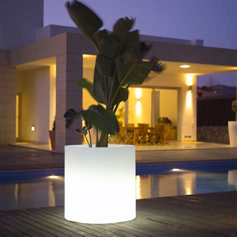 outdoor garden pots with built in lighting llum by