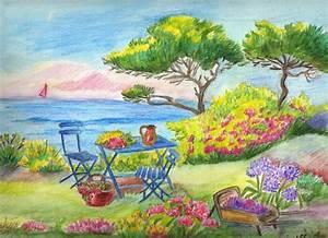Jardin Dessin Couleur : paysages landscapes dessin au crayon et l 39 aquarelle ~ Melissatoandfro.com Idées de Décoration