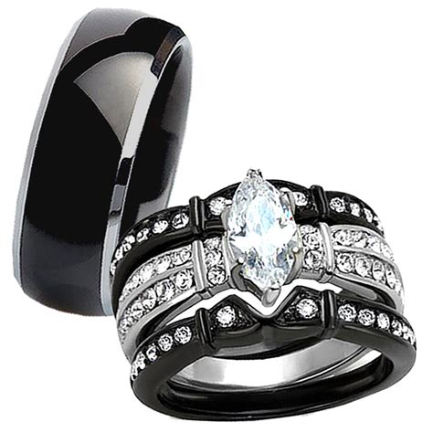 4 pc his titanium black stainless steel wedding