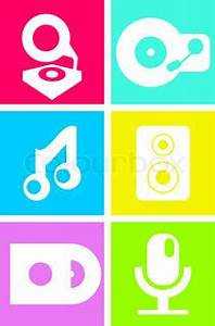 Neon colored music icons record player note speakers